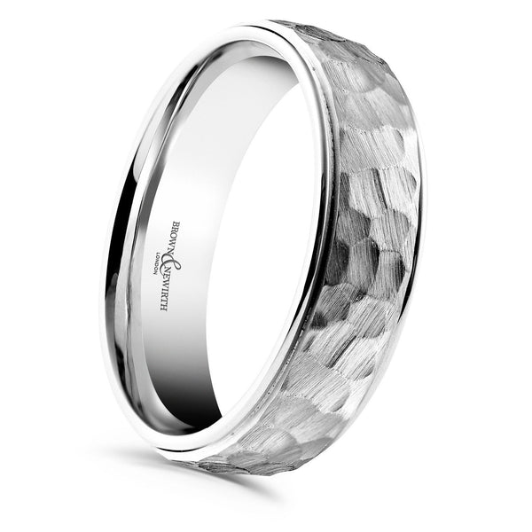 Mens Cabala wedding ring from Brown & Newirth offers a luxury gauge court profile with a matt hammered finished and polished rolled edges. B&N style ZNP799