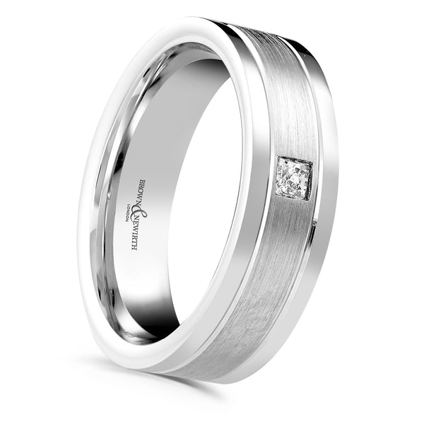 Ladies diamond set wedding ring from Brown and Newirth. Centre matt finish with princess cut diamond and polished edges. B&N style code XD731