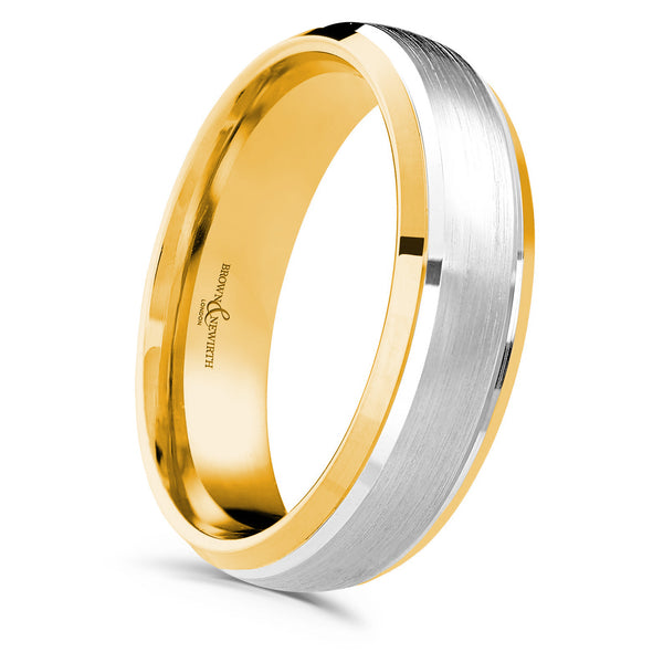 Mens Compliment wedding ring from Brown & Newirth. Contrasting matt finished centre with polished bevelled edges for a fashionable two tone style.