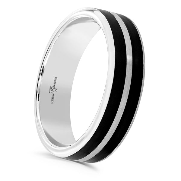 Mens Dalston two tone wedding ring with black ceramic inlay from Brown and Newirth. B&N Style code C6ANFP32