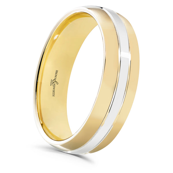 Mens Flux two tone wedding ring from Brown and Newirth. B&N Style code 6005