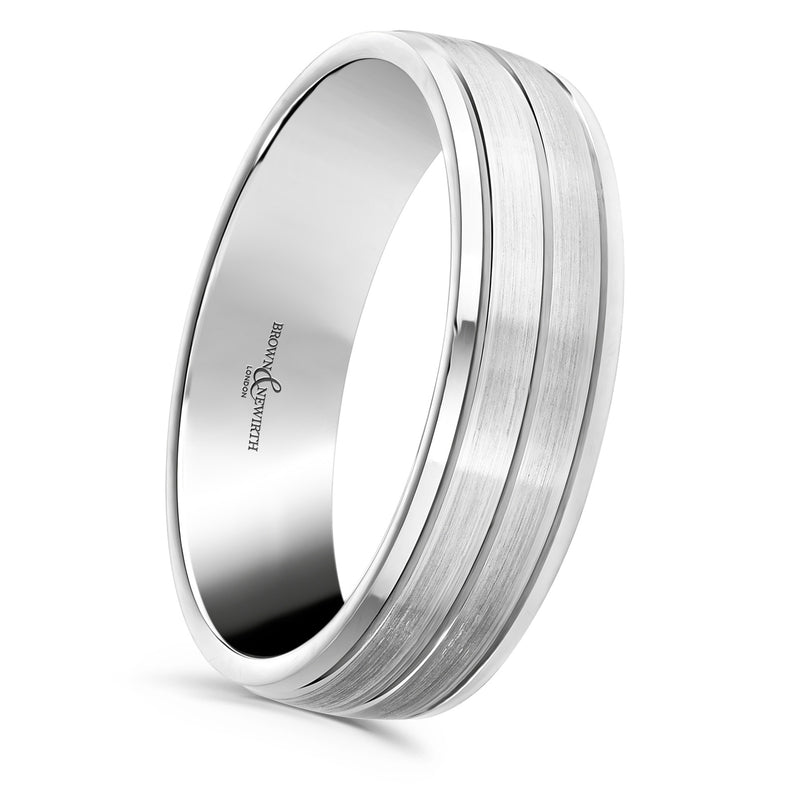 Mens Galaxy wedding ring from Brown and Newirth. Matt and polished finishes with three engraved lines. B&N Style code ZNP1158