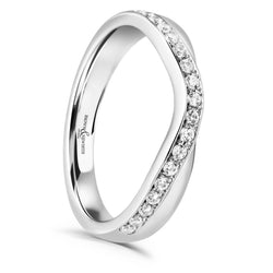 Ladies Isla wedding ring from Brown & Newirth. Curved band with 19 round diamonds.