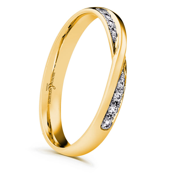 Cross over diamonds in a yellow coloured band