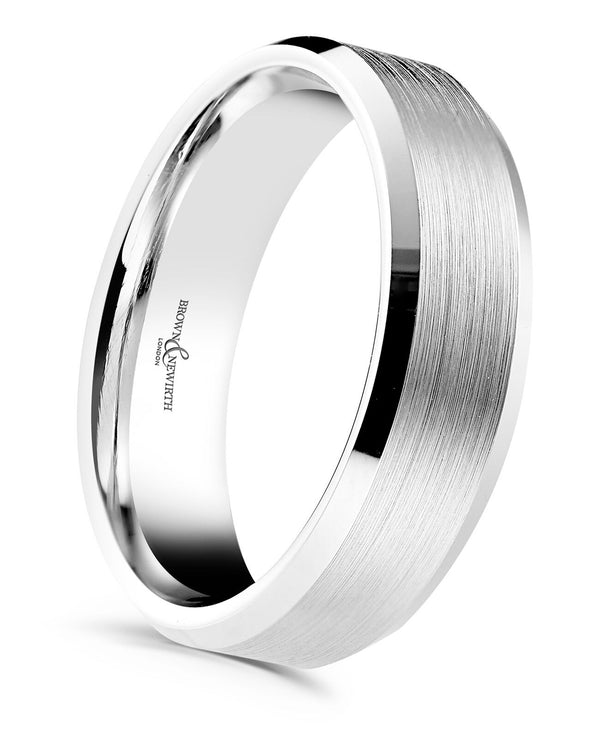 Mens Dexter wedding ring from Brown and Newirth. Medium weighted with a flat outside and luxury gauged inside. Matt top finish with two polished beveled edges.