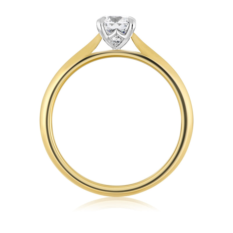 Yellow gold ring with large diamond with white gold setting on show from side