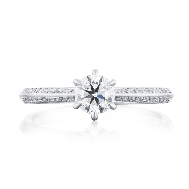 Platinum Shoulder Set Solitaire Ring