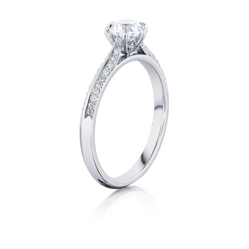 Platinum Shoulder Set Solitaire Ring Angled View