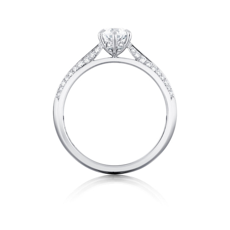 Platinum Shoulder Set Solitaire Ring Side View