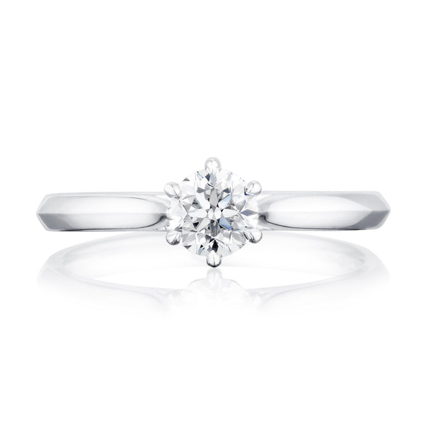 Platinum ring with 0.50 carat round diamond in six claw setting
