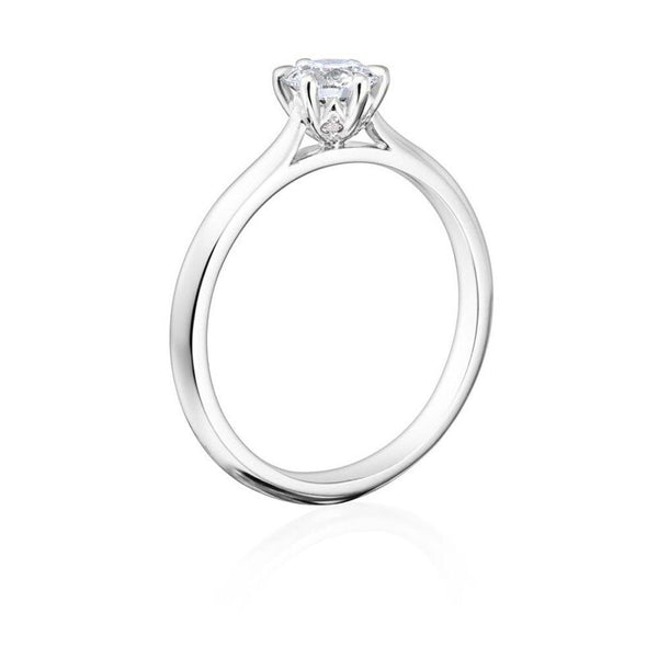 Burrells Winchester Collection Platinum 0.50 carat round diamond solitaire ring in six claw setting. Angled View