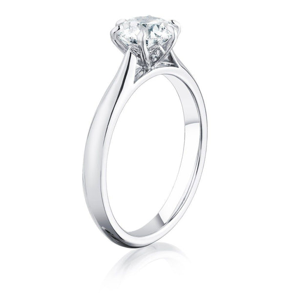 Burrells Winchester Collection Platinum 1 carat certified round diamond solitaire ring in six claw setting. Angled View