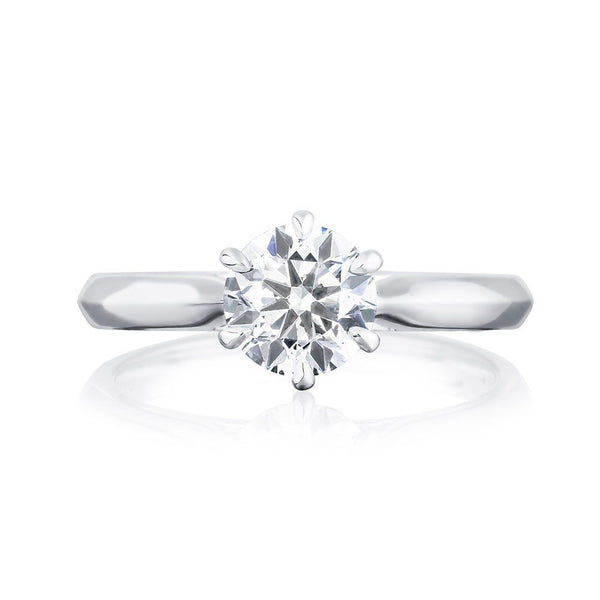 Burrells Winchester Collection Platinum 1 carat certified round diamond solitaire ring in six claw setting. Front View