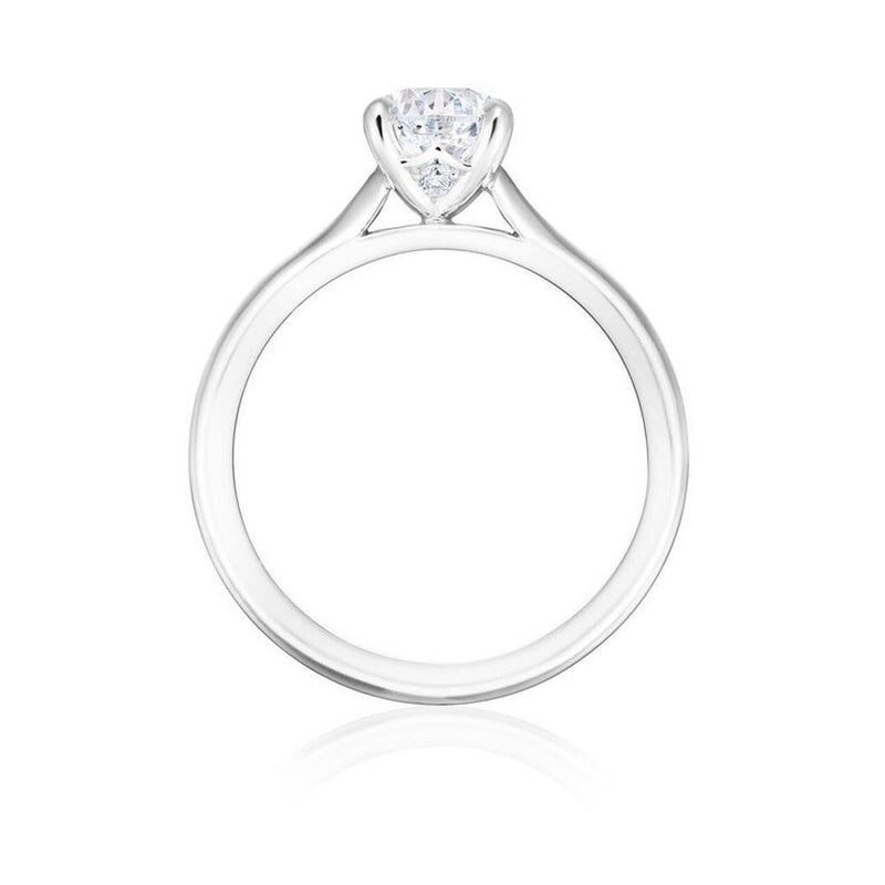 Burrells Winchester Collection Platinum 1 carat round diamond solitaire ring in four claw setting. Side View