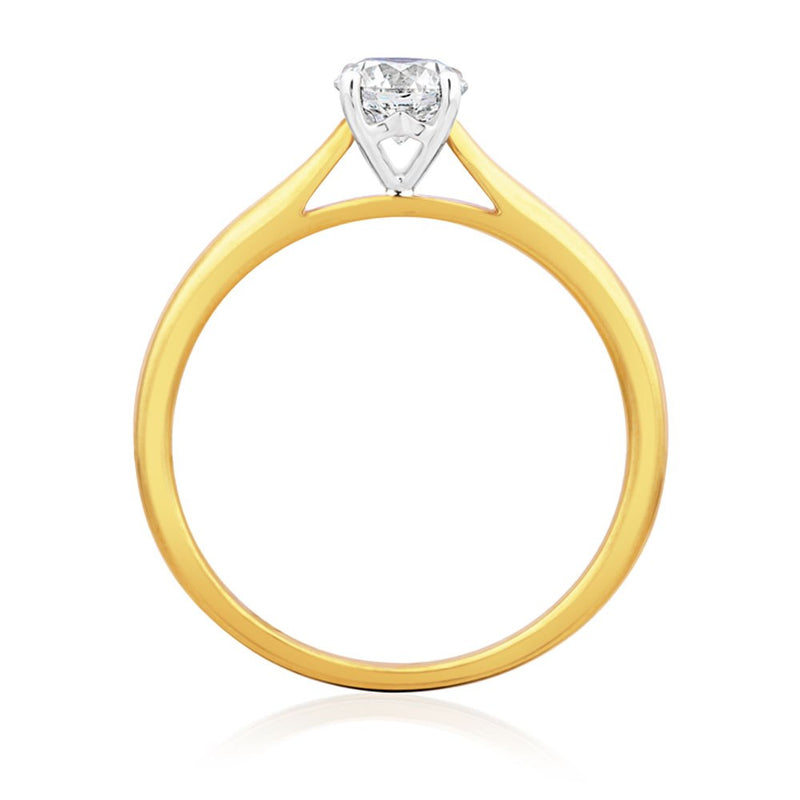 Burrells 18ct Yellow & White Gold 0.50ct Round Brilliant Cut Diamond Solitaire Ring
