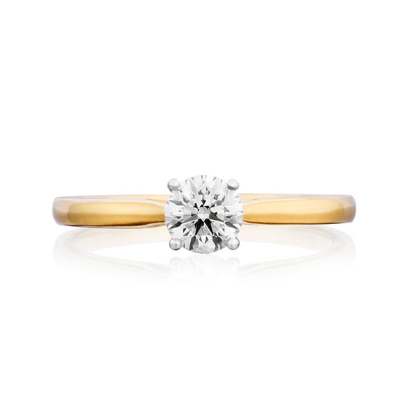 18ct Yellow & White Gold 0.50ct Round Cut Diamond Solitaire Ring