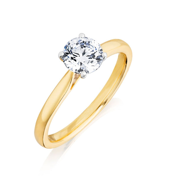 Burrells 18ct Yellow & White Gold 0.70ct Round Brilliant Cut Diamond Solitaire Ring