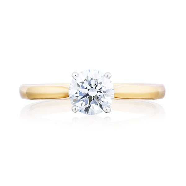 18ct Yellow & White Gold 1.00ct Round Cut Diamond Solitaire Ring