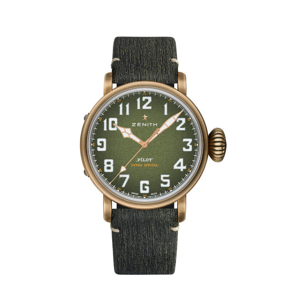 Green and bronze watch on a green leather strap