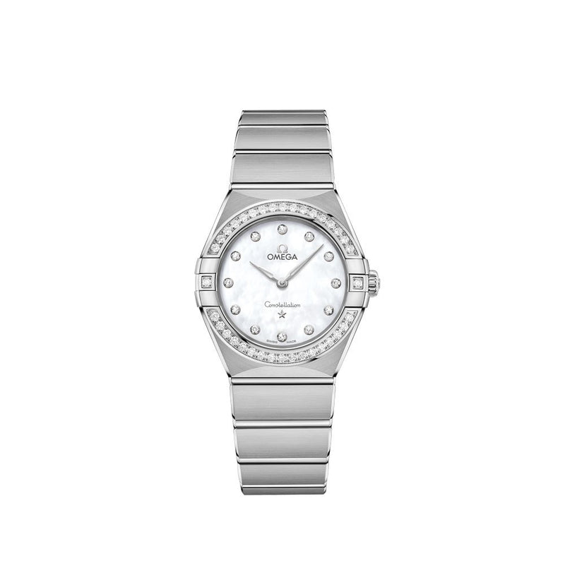 Omega Constellation Manhattan Stainless Steel with Diamonds Quartz Watch 28mm Face