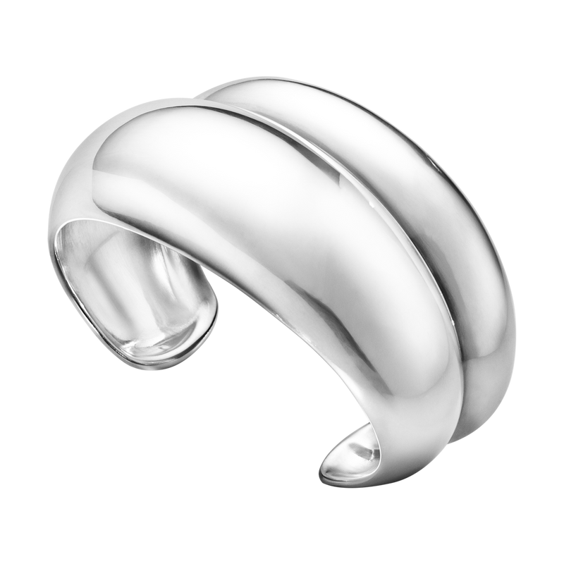 Georg Jensen Curve Sterling Silver Sculptural Medium Bangle 20000026