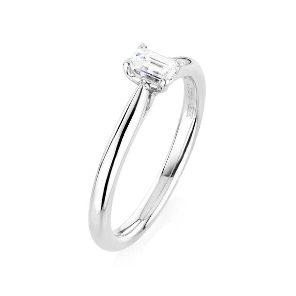 Burrells Platinum 0.30ct Emerald Cut Diamond Solitaire Ring
