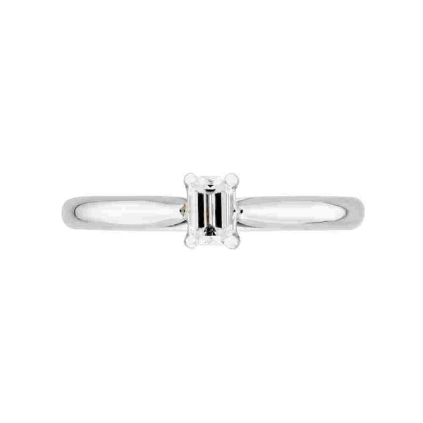 Platinum 0.30ct Emerald Cut Diamond Solitaire Ring