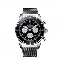 Breitling Superocean Heritage II B01 Chronograph 44 Black Dial & Steel Bracelet 44mm AB0162121B1A1 Face