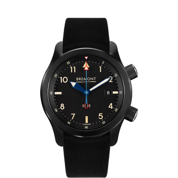 Bremont U2/51-JET Black Dial & Leather Strap 43mm U2/T/DLC Face