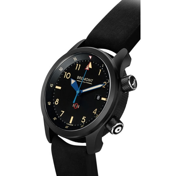 Bremont U2/51-JET Black Dial & Leather Strap 43mm U2/T/DLC Crown