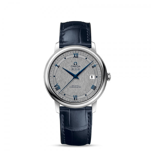 Omega De Ville Prestige Co-Axial Grey Dial & Blue Leather Strap 39.5mm Face
