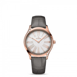 Omega De Ville Trésor Quartz Rose Gold Silver Dial & Grey Leather Strap 36mm Face