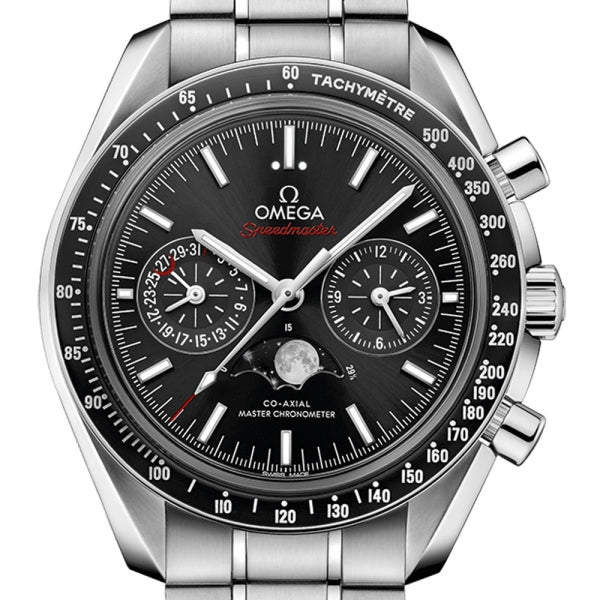 Omega Speedmaster Moonwatch Co-Axial Moonphase Chronograph Steel & Black 44.25mm 304.30.44.52.01.001