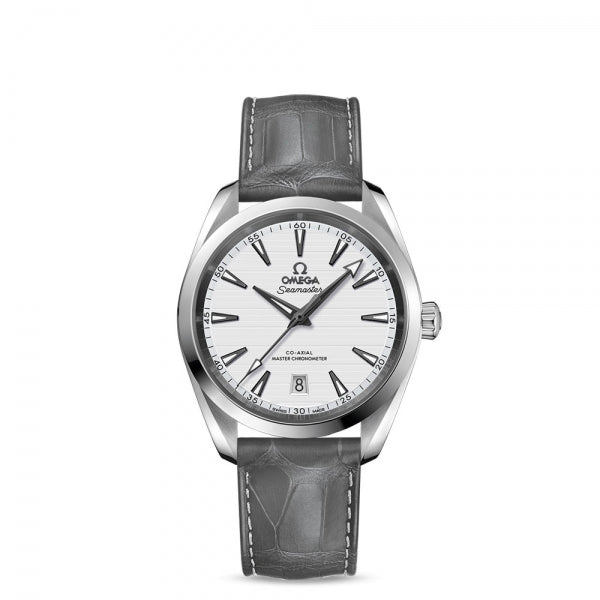 Omega Seamaster Aqua Terra 150M Co-Axial Master Chronometer Silver Dial & Grey Leather Strap 38mm
