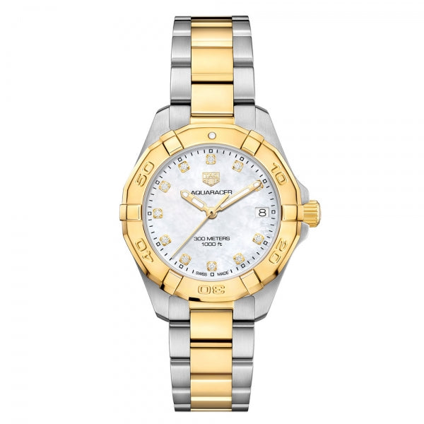 TAG Heuer Aquaracer Steel and Yellow Gold 32mm WBD1322.BB0320 Face