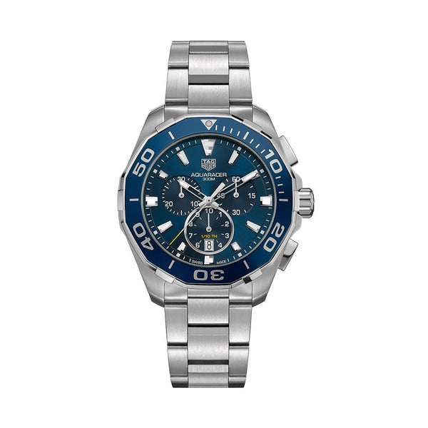 TAG Heuer Aquaracer Chronograph Steel & Blue Aluminum Bezel 43mm Face