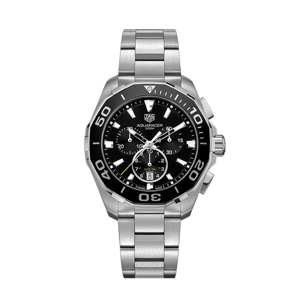 TAG Heuer Aquaracer Chronograph Steel & Black Aluminum Bezel 43mm CAY111A.BA0927 Face