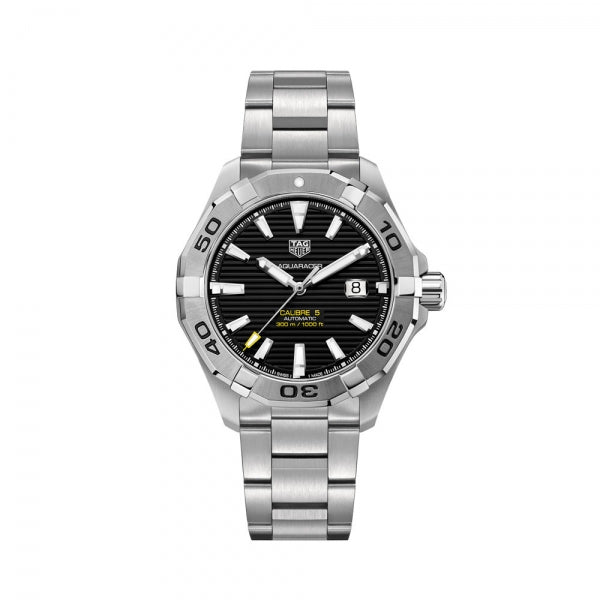 TAG Heuer Aquaracer Calibre 5 Steel & Black 43mm WAY2010.BA0927 Face