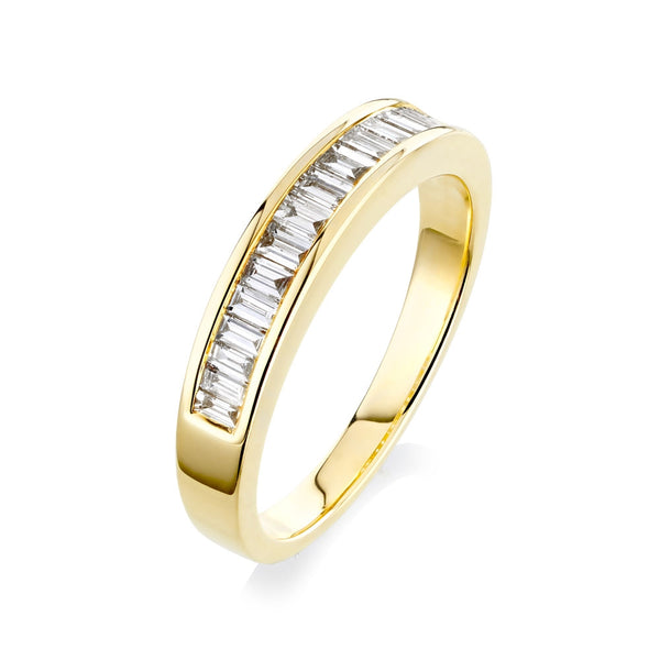 Burrells 18ct Yellow Gold 0.60ct Baguette Cut Diamond Half Eternity Ring