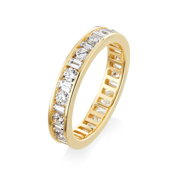 Burrells 18ct Yellow Gold 1.44ct Round & Baguette Cut Diamond Full Eternity Ring