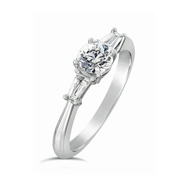 Burrells Platinum 0.64ct Baguette and Round Cut Diamond Trilogy Ring