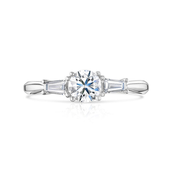 Platinum 0.64ct Baguette and Round Cut Diamond Three Stone Ring
