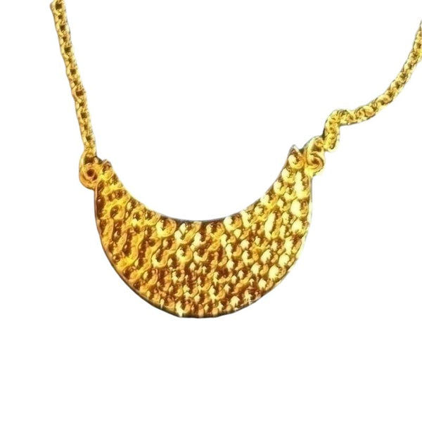 yellow gold plated stippled moon shape bracelet