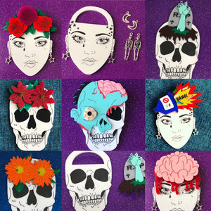 Interchangeable Skull Brooch and Single Head Pieces
