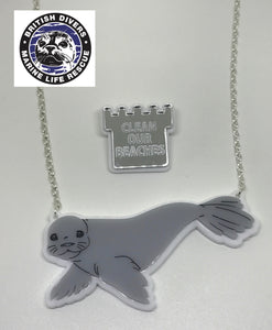 Seal Necklace with Statement Pin