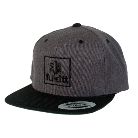 Fükitt Clothing | Square Design on Grey & Black Snapback Cap