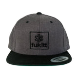 Fükitt Clothing | Square Design on Grey & Black Snapback Cap Front