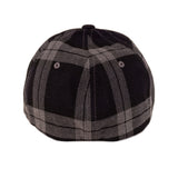 Fukitt Clothing | Vibe Script Black/Grey Plaid Fitted Curved Brim Cap Back