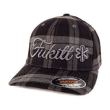 Fukitt Clothing | Vibe Script Black/Grey Plaid Fitted Curved Brim Cap