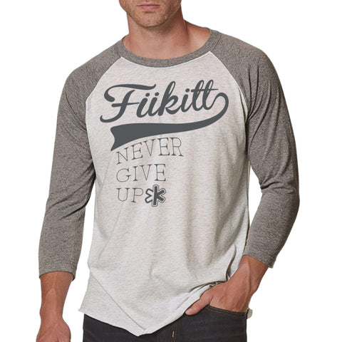 Fukitt Clothing | Faseball Heather Grey/White Triblend 3/4-Sleeve Tee